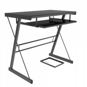 Ryan Rove Becker Modern Metal and Tempered Safety Glass Computer Desk - Black