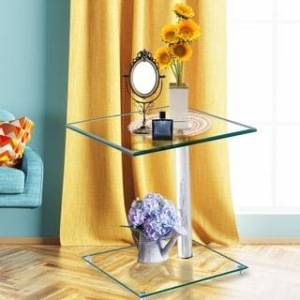 W24104960MQ Clear Tempered Glass Coffee Table, Saving Space And Practical