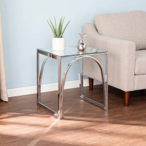 Silver Orchid Stene Contemporary Silver Glass End Table