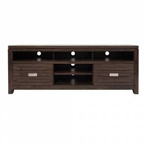 Overstock 70 Inch Wooden Media Console Table with 3 Open Compartments, Dark Brown