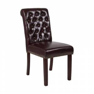 Offex HERCULES Series LeatherSoft Parsons Chair with Rolled Back, Accent Nail Trim and Walnut Finish - Brown