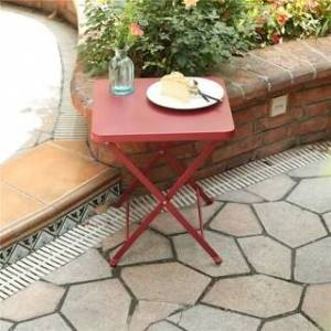 Overstock PHI VILLA Outdoor Folding Bistro Table- Patio, Porch Metal Side Table, Turquoise (Red)