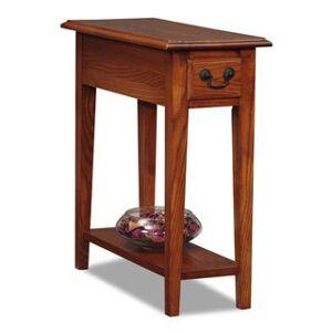KD Furnishings Ash/Oak Veneers Chairside Table (Distressed Finish/Shelf/Storage - Oak Finish - Oak)