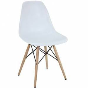 Modway White Plastic Dining Chair with Wooden Base (Single - White)