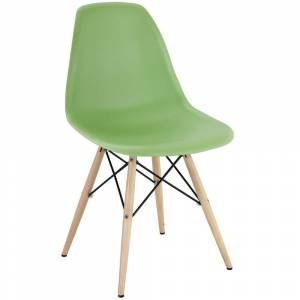 Modway Light Green Plastic Dining Chair with Wooden Base (Single - Light Green)
