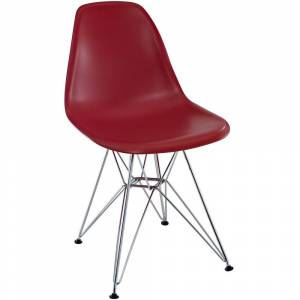 Modway Red Plastic Dining Chair with Wire Base (Red)