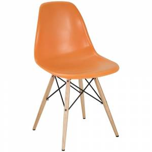 Modway Orange Plastic Dining Chair with Wooden Base (Single - Orange)