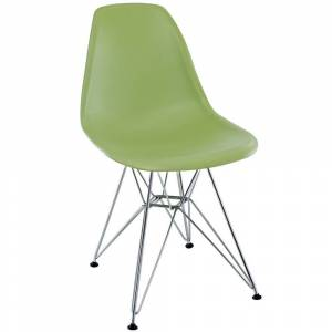 Modway Green Plastic Dining Chair with Wire Base (Light Green)