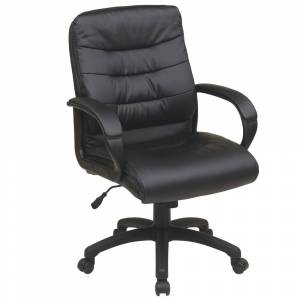 Office Star Products Mid Back Bonded Leather Executive Office Chair (Modern & Contemporary - Standard - Black - Ergonomic Chairs/Executive Chairs - Assembly Required -