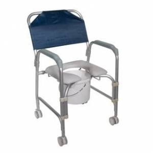 Drive Medical Lightweight Portable Shower Commode Chair with Casters - Grey