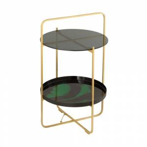 TOV Furniture Enamel Black and Green Side Table (Metal - Black and Green)