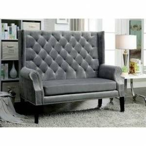 Furniture of America Olis Contemporary Fabric Tufted Loveseat Bench (Grey)