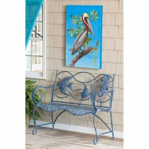 Evergreen 44-inch Blue Fish Metal Bench (Blue)