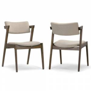 Glamour Home Set of 2 Auden Retro Modern Dark Brown Wood Wing Chair (Dining Height - Set of 2)