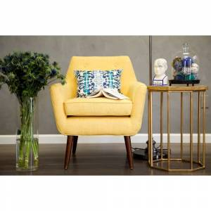 TOV Furniture Hand-crafted Mustard Yellow Linen Chair with Button Tufting (Mustard Yellow)