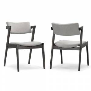 Glamour Home Set of 2 Auden Retro Modern Black Wood Wing Chair (Dining Height - Set of 2)