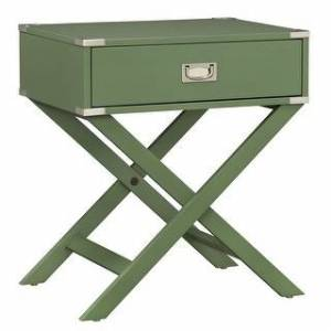 Porch & Den Irvington Campaign Finish Wood X-base Accent Table (Green Meadow)