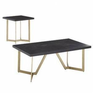 iNSPIRE Q Cheyenne Black and Gold Metal Base Table Set by iNSPIRE Q Modern (End Table and Cocktail Table)