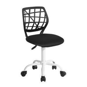 Porch & Den Nazaneen Cut-out Plastic Backrest/ White Metal Base Task Chair (Plica-Black)