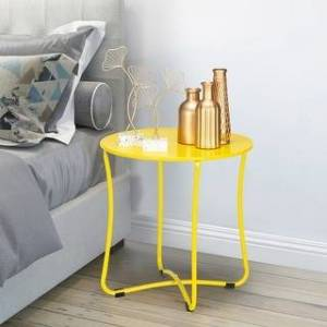 "Overstock 18"" Modern Patio End Table Metal Colorful Side Table (Yellow)"