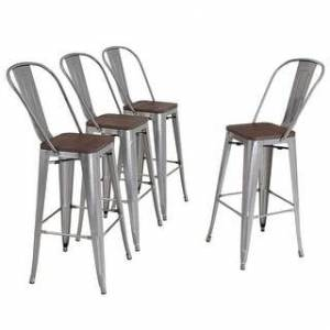Alpha HOME 30'' High Back Bar Stools with Wood Seat,Vintage Metal Dining Chairs Stackable Industrial Counter Stool (Glossy Steel)