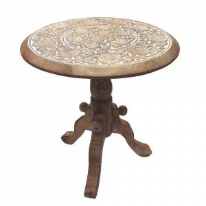Overstock Intricately Carved Round Top Mango Wood Side End Table with Pedestal Base, Brown and White (Wood)