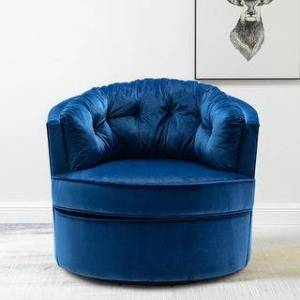 Overstock Modern Akili Swivel Accent Chair Barrel Chair For Living Room (Blue)