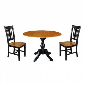 "International Concepts 42"" Round Top Pedestal Table with 2 Chairs, Black/Cherry (Black/Cherry)"