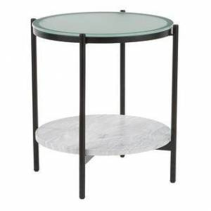 LumiSource Chloe DLX Side Table with LED Lighting (Black/Clear/White - Glass)