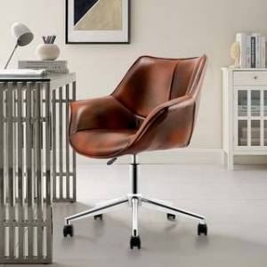 Overstock Modern PU Leather Height-Adjustable Swivel Computer Desk Chair (Adjustable Height - Low Back - Desk Chairs - Leather - Brown - Assembly Required -