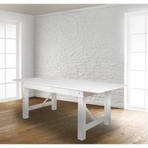 "Lancaster Home 8' x 40"" Rectangular Antique Rustic Solid Pine Folding Farm Table - 40""W x 96""D x 30""H - 40""W x 96""D x 30""H (White)"