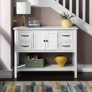Merax 43'' Modern Console Table with 4 Drawers, 1 Cabinet and 1 Shelf (White)