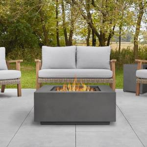 """Real Flame Aegean Square Gas Fire Table in Weathered Slate - 36"""" L x 36"""" W x 15.25"""" H (Grey - 36"""" L x 36"""" W x 15.25"""" H - Fire Pits - Powder Coated Steel -"""