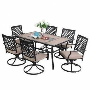 Overstock PHI VILLA Outdoor Patio Dining Set 7 Pieces Metal Furniture Set, 6 Swivel Chairs with 1 Rectangular Umbrella Wood Like Table (7-Piece Sets)