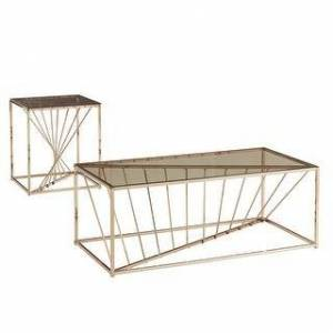 iNSPIRE Q Hannah Rectangular Metal and Glass Top Table Set by iNSPIRE Q Bold (End Table and Coffee Table - Champagne Gold)