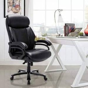 Overstock Large Executive Desk Computer Swivel Chair (Black)