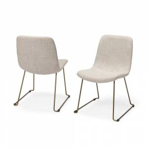 Mercana  Sawyer I Cream Fabric Seat Gold Metal Frame Dining Chair (Set of 2) - 19.0L x 24.3W x 33.0H (Set of 2)