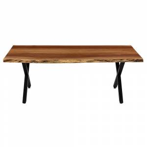 Rio Carbon Loft Cubillo 48-inch Handmade Real Walnut Live Edge Steel Base Coffee Table (Natural - Wood)