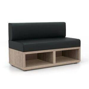 "Carson Carrington Lunne Waiting Room Reception Loveseat - 48"" x 24"" x 30"" (Black Poly Seat/Back)"