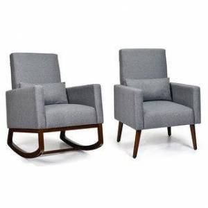 Overstock Costway Set of 2 Dual-use Upholstered Rocking Chair w/Pillow Light (Dark Grey)