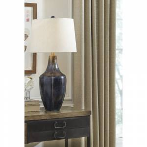 "Signature Design by Ashley Evania Metal Table Lamp - 15.13"" W x 15.13"" D x 30.5"" H (15.13"" W x 15.13"" D x 30.5"" H - Indigo)"