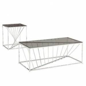iNSPIRE Q Hannah Rectangular Metal and Glass Top Table Set by iNSPIRE Q Bold (End Table and Coffee Table - Chrome)