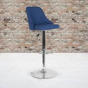 """Lancaster Home Contemporary Adjustable Height Barstool in Dark Gray Fabric - Kitchen Furniture - 18""""W x 19""""D x 35.75"""" - 44.25""""H (Blue Fabric)"""