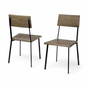 Mercana Viscount Morpheus II Brown Solid Wood Seat and Black Iron Frame Dining Chair (Set of 2) -  17.8L x 18.0W x 34.0H (Set of 2)