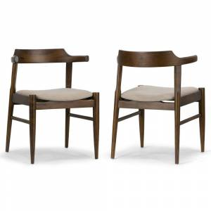 Glamour Home Set of 2 Atlas Retro Modern Dark Brown Wood Chair with Curved Back (Dining Height - Set of 2)