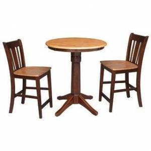 """Overstock 30"""" Round Counter Height Table with 2 San Remo Stools - 3 Piece Set (Cinnamon/Espresso)"""