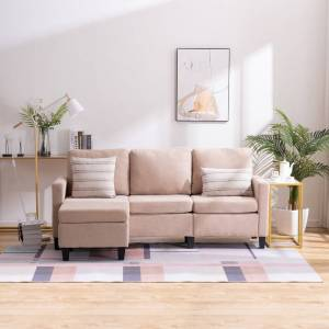 """LivEditor Double Chaise Longue Combination Sofa Beige - 7'6"""" x 10'9"""" - 7'6"""" x 10'9"""" (Yes - 7'6"""" x 10'9"""" - Americana - Weather Resistant - Pedestal - Beige -"""