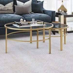 Heath & Cliff Gaia Round Metal/ Tempered Glass Nesting Coffee Tables - 2 pc Set (Optional Finishes) (Brass)