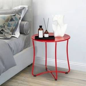 "Overstock 18"" Modern Patio End Table Metal Colorful Side Table (Red)"