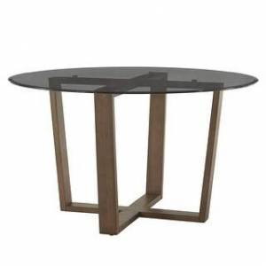 iNSPIRE Q Sheeba Round Angled Walnut Dining Table by iNSPIRE Q Modern (Smoked Glass Top)